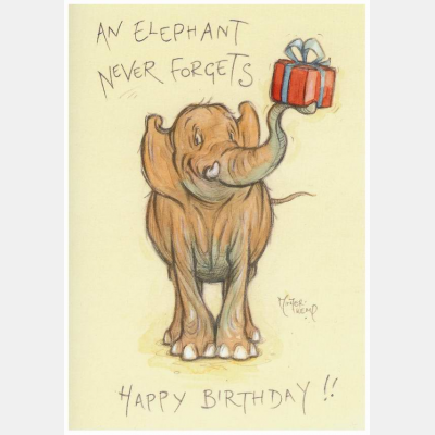 an elephant never forgets card at tom dickins fine art supplying minter kemp products. Black Bedroom Furniture Sets. Home Design Ideas